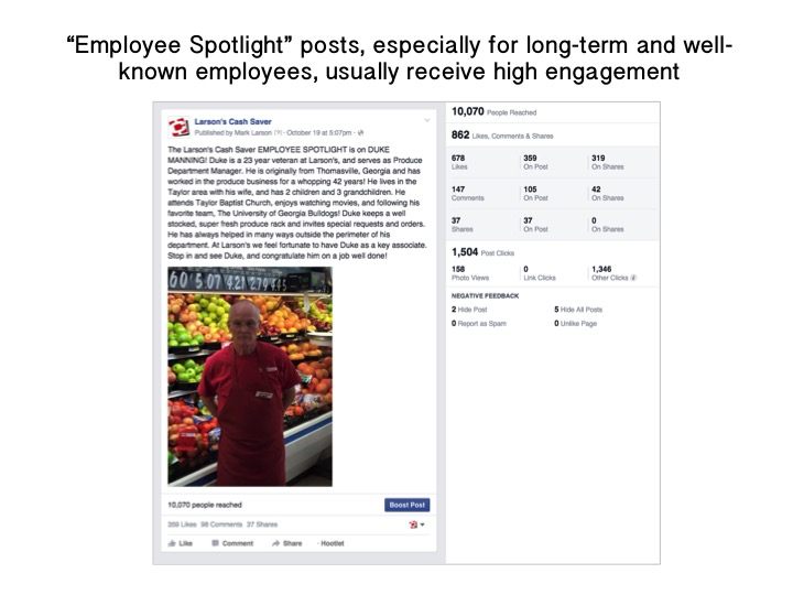 """Employee Spotlight"" posts, especially for long-term and well-known employees, usually receive high engagement."