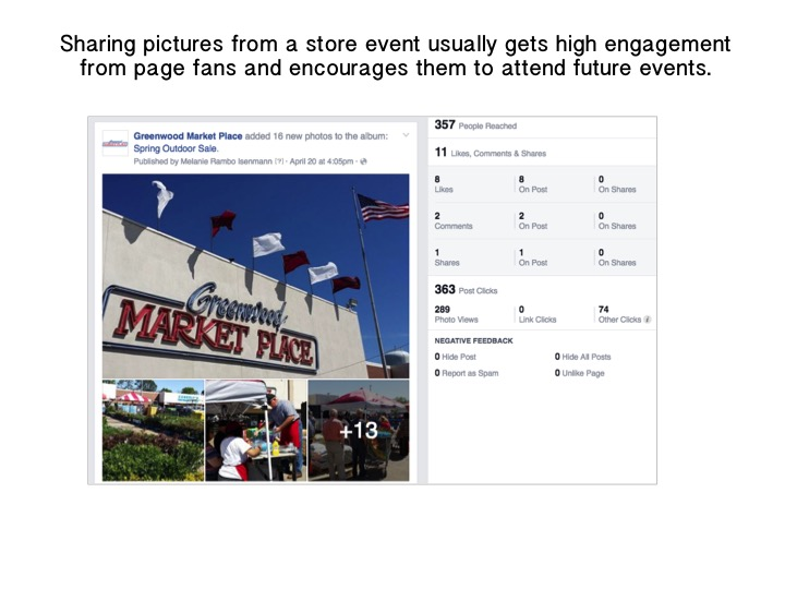 Screenshot example of Facebook Stats: Sharing pictures from a store event usually gets high engagement from page fans and encourages them to attend future events.