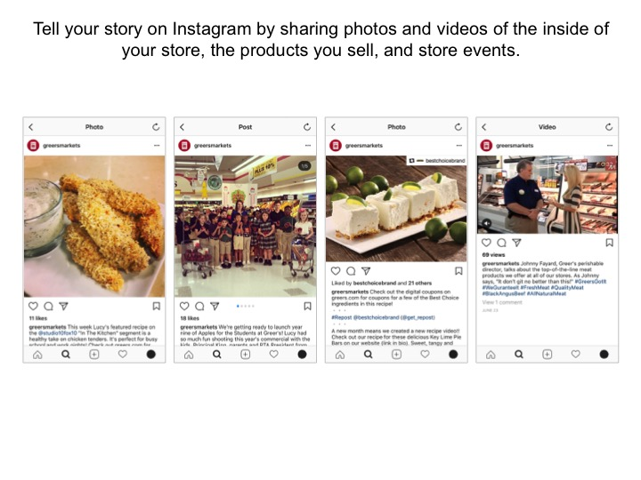 Screenshot example: Tell your story on Instagram by sharing photos and videos of the inside of your store, the products you sell, and store events.