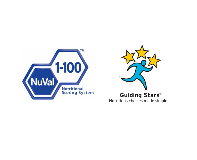 2 Logos: NuVal TM Nutritional Scoring System, Guiding Stars ® Nutritious choices made simple.