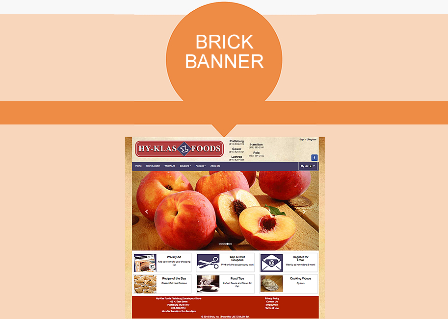 Screen shot example of AWG Marketing - Brick Banner website package.