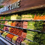 100% organic produce section at grocery store