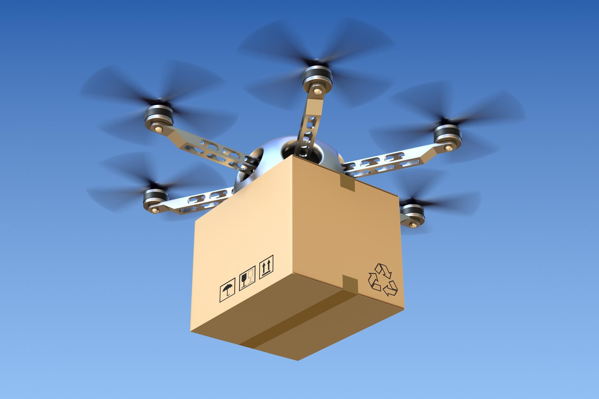 photo of a drone delivering a package