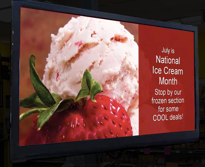 Ice cream graphic on digital store signage.