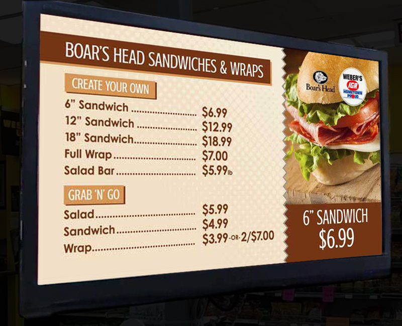 Boar's Head sandwich and wrap menu example using digital signage.