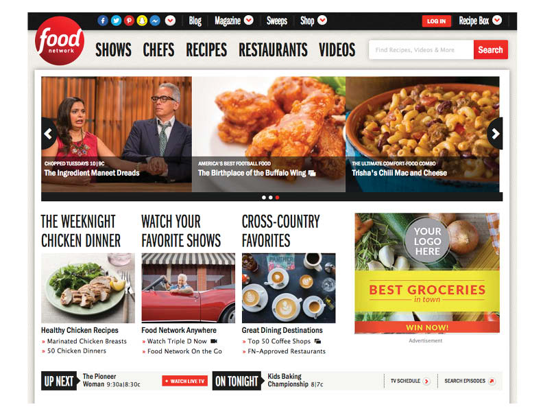 Screenshot example of Online Target Advertising shows generic grocery store ad on Food Network website in sidebar.
