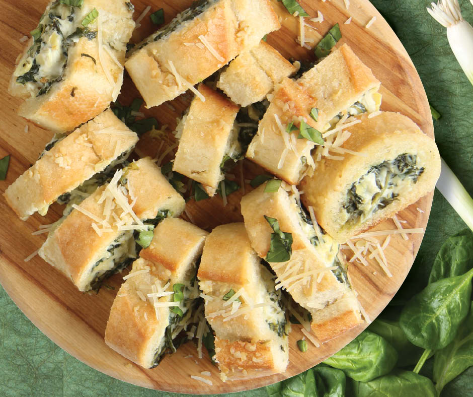 Spin Dip Stuffed Garlic Bread