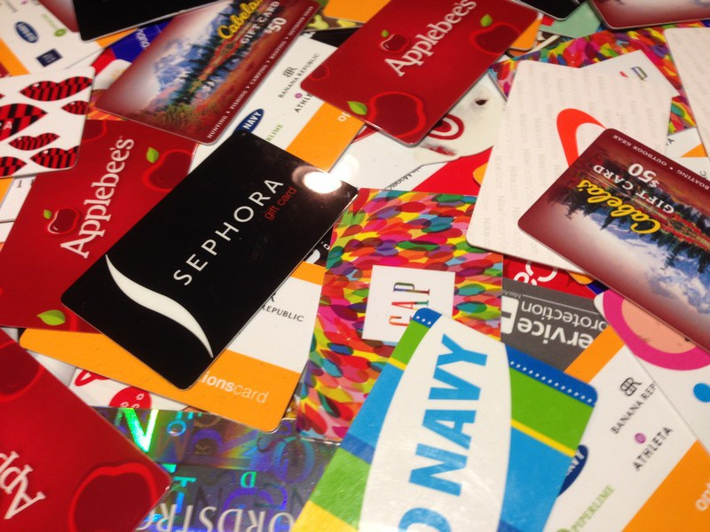 Various Gift Cards in a Pile