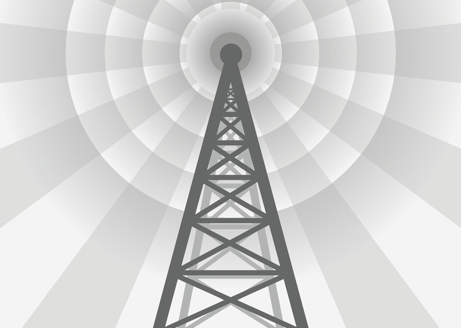 Graphic of radio or tv tower with waves.