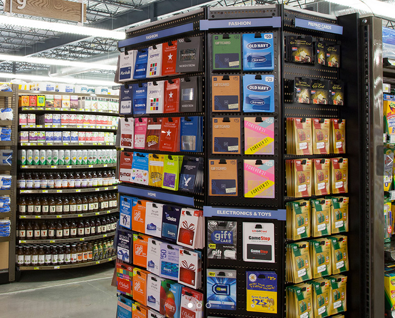 Photo of store gift card mall end cap.