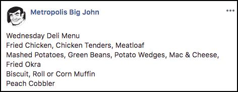 Big John Deli Daily Menu