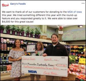 Gary's MDA of Iowa Donation