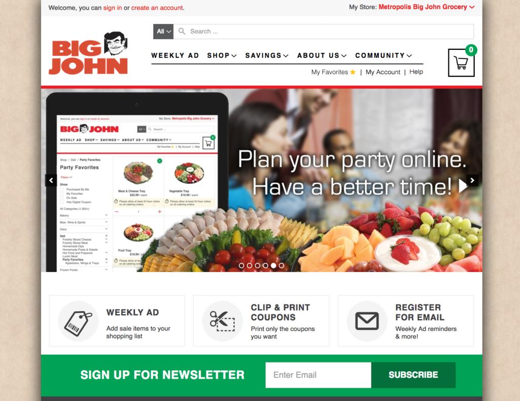 Screenshot of Big John's party tray slider