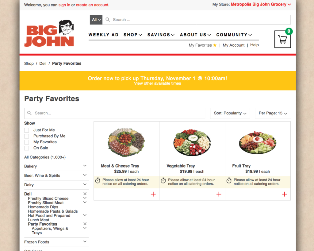 Screenshot of Big John's order online party trays