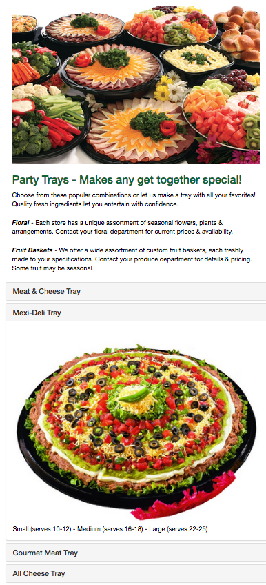Screenshot of Ray's Apple Market Party tray info page
