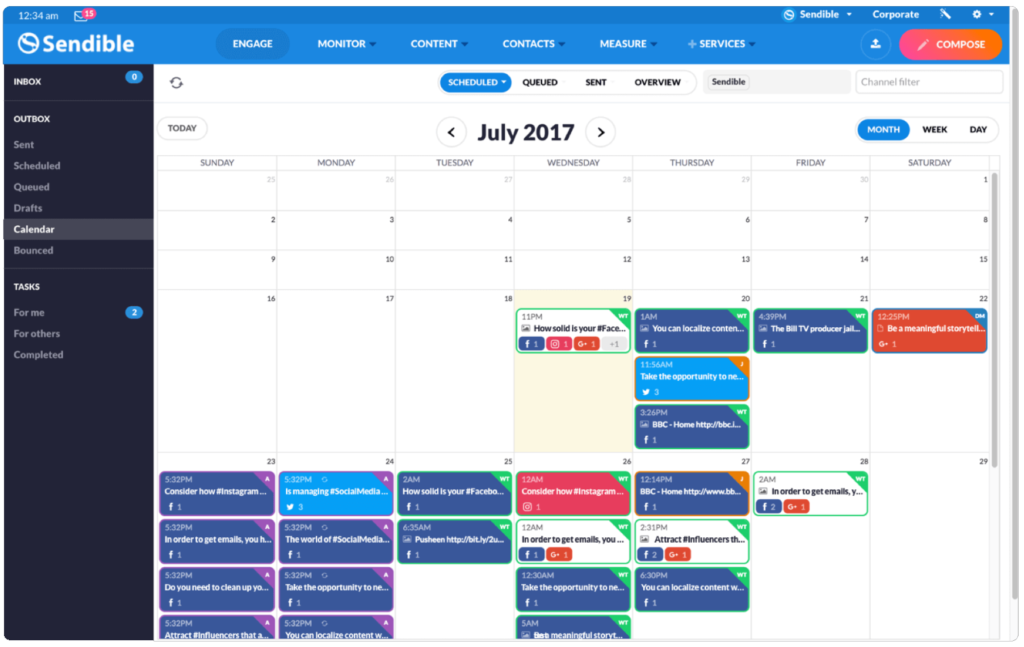 Sendible Content Calendar View