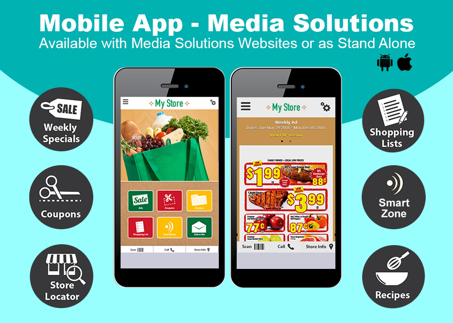 Mobile App - Media Solutions - Available with Media Solutions Websites or as Stand Alone.
