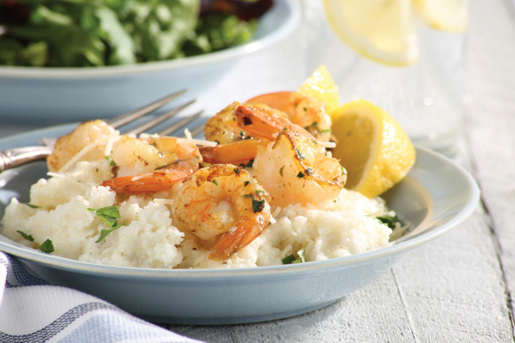 Lemon and Garlic Shrimp and Grits