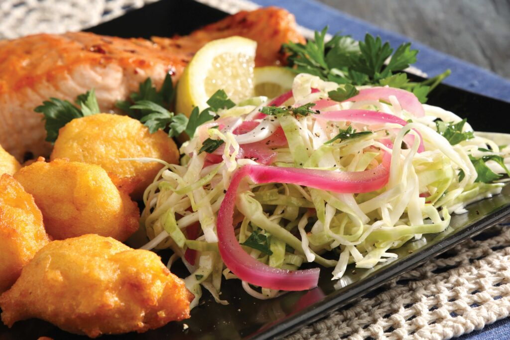 Hushpuppies and  Pickled slaw